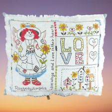 Embroidered Sampler Pillow Rag Doll Love 10 inch