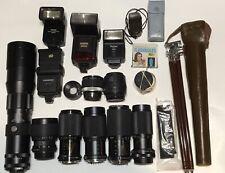 Camera Lenses Lot Sigma Pentex Yashica Tokina Flashes Not Tested See Notes