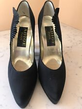 Vintage Adige Paris Black Satin High Heeled Shoes Platform Pumps France Size 7.5