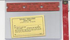 Vintage lot Tivoli theatre $2.00 tickets & annual pass Lorain Ohio FREE SHIPPING