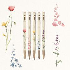Monami Ballpoint Pen Gift Set of 5 153 Flower Edition 0.5mm Black Ballpen