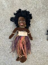 "Vintage 14"" Norah Wellings? Island Girl Black Cloth Doll Artist British England"
