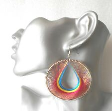 Gorgeous Big Red/Yellow/Blue Round Thread Earrings - Clip-on by Request