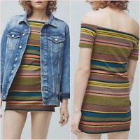 Pink Striped Bardot Bodycon Dress Mango Size UK 6 10 12 US 2 6 8 Zara Blogger ❤