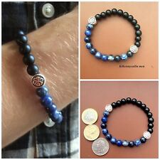 Denim blue Sodalite black onyx celtic Mens bracelet. Irish made jewellery