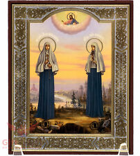"Wooden Icon of St. Elizabeth Romanov & nun Barbara Елизавета Романов 5.1"" x 6.2"""