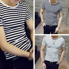 Men's Stylish Stripe T Shirts Casual Short Sleeve Striped Slim Pullover_Tops