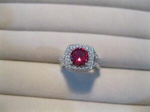 Vintage QVC Joseph Esposito 925 Silver Diamonique Simulated Ruby Ring Size M