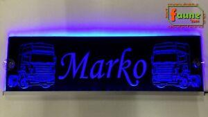 """LED Leuchtschild Namensschild z.B. """"Marko"""" + Trucks 12/24V, Name + Farbe wählbar"""