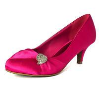 Womens Satin Medium Kitten Heel Court Shoes Closed Wedding Evening Dress Size