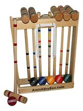 "Amish-Made Deluxe Wooden 6 Player Croquet Set, 32"" Handles"