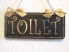 Lovely Decorative Handcrafted Plaque Gold on Black TOILET Door/Room Sign