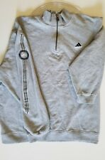 Vintage Adidas Men's Cotton Gray Pullover Sweater 1/2 Zip Gray Size L