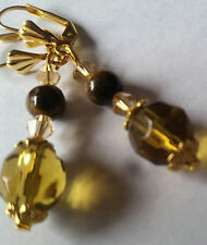 9mm Yellow Faceted Glass Tiger Eye & Crystal Earrings - Lever Backs -Comb. Ship.