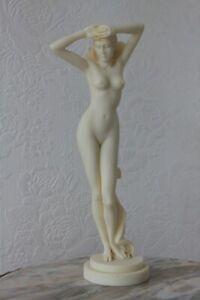 "Ancient Greek Nude Female Alabaster Statue / Sculpture 12"" (30.5cm) VGC"