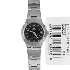 Casio New LTP-1241D-1A Black Analog Womens Watch Date LTP-1241 Stainless Steel