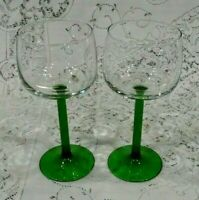 Set Of 2 Emerald Green Stems Wine Glasses  Made In France