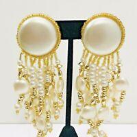 Vintage Pearl Chandelier Clip Earrings Beaded Dangle Statement Shoulder Dusters