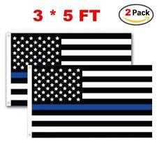 W.E.Saunders/&Co.®  Thin Blue Line Flag 3/'X5/' Premium Stitched Nylon Police Flag
