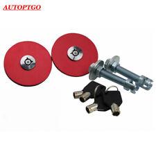 Red JDM Sport Racing Mount Bonnet Hood Latch Pins Key Locking Kit For All Cars