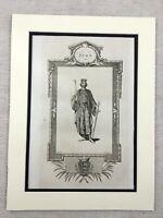 1791 Print King John of England Royal Portrait Original Antique Engraving