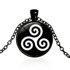 Pendant Necklace with black chain Black and White Celtic Triskelion Glass