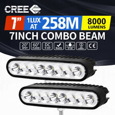 Pair 7 inch CREE LED Light Bar Spot Flood Work Driving Reverse Lamp 12V 24V