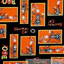 BonEful Fabric FQ Cotton Quilt Black Orange B&W Skeleton Dr Seuss Cat in the Hat
