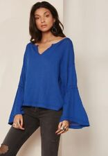 Free People - Dahlia Thermal Knit Top XS Long Belt Sleeve OB641133 Shappire
