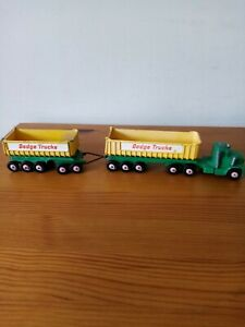 Matchbox Kingsize K16 Dodge Truck, Tractor, With Twin Tipper Trailers