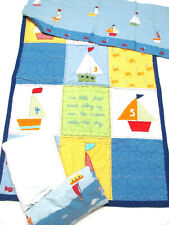 Pottery Barn Nursery Crib Bedding 4 pc set Sailboats Quilt Sheet Skirt Curtain