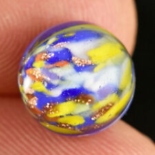"""VTG Glass Paperweight Sewing Button Blue and Yellow Gold Shimmer Sparkle 7/16"""""""