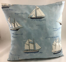 Novelty Sailing Yachts Theme on Blue Fabric Evans Lichfield Cushion Cover