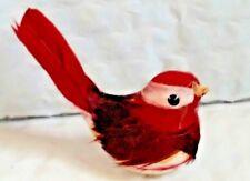 "Vntg Spun Cotton BIRD White / Burgandy feathers Xmas Ornament #14~ 1.5"" L x 2.5"""