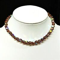 Vintage AB Aurora Borealis Topaz Crystal Faceted Bead Necklace Collar Choker 15""