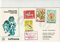 Singapore 1965 1st Flight Lufthansa LH 691 Slogan Airmail Stamps Cover Ref 29419