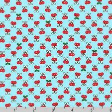 BY YARD-Tiny Happy Lucky Cherry Fabric Robert Kaufman Fabrics ACK-16923-70 Aqua