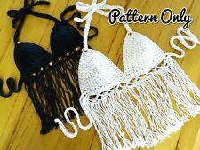 DIY CROCHET TOP PATTERN Tassel Bikini Crop Festival Halter Paper Patterns 0114