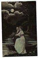 romance couple in row boat MOON  vintage photo postcard 1910's