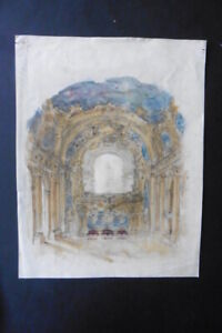 FRENCH SCHOOL 19thC - STUDY FOR A CHURCH DECORATION - INK-WATERCOLOR-CHARCOAL