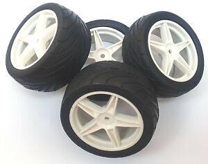 66107/117 1/10 Street Front Rear Buggy RC Wheels Pin Tyres 5 Spoke White x 4