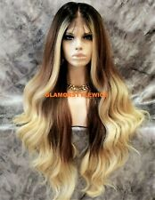 360 Free Part Human Hair Blend Lace Front Wig Long Ombre Brown Caramel Blonde