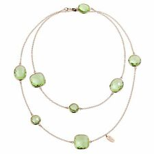 Zoccai 925 Green Amethyst Station Necklace in Rose Gold-Toned Sterling Silver