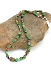 "Navajo Native American Turquoise Nugget Sterling Silver Necklace 19"" 3657"