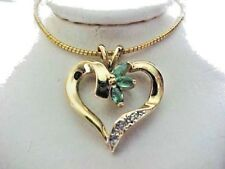 Emeralds Estate 14k Solid Yellow Gold Heart Shape Diamond Pendant skaisNOV16