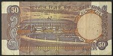 Inde India Armoiries Tigres Tigers Arms Wappen Parlement Billet 50 Rupees 1985