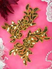 """JB259 Sequin Appliques Gold MIRROR PAIR Floral Beaded Dance Patch 7"""""""