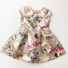 NEXT Girls Size 4 Beige Rose Short Sleeved  Special Occasion Dress