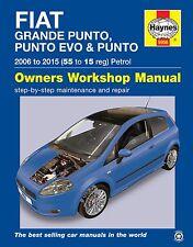Haynes FIAT GRANDE PUNTO, PUNTO EVO & PUNTO 2006 AL 2015 manuale 5956 NUOVO