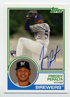 2018 Topps FREDDY PERALTA Rookie Card RC AUTO AUTOGRAPH #83A-FP Brewers 1983 SSP